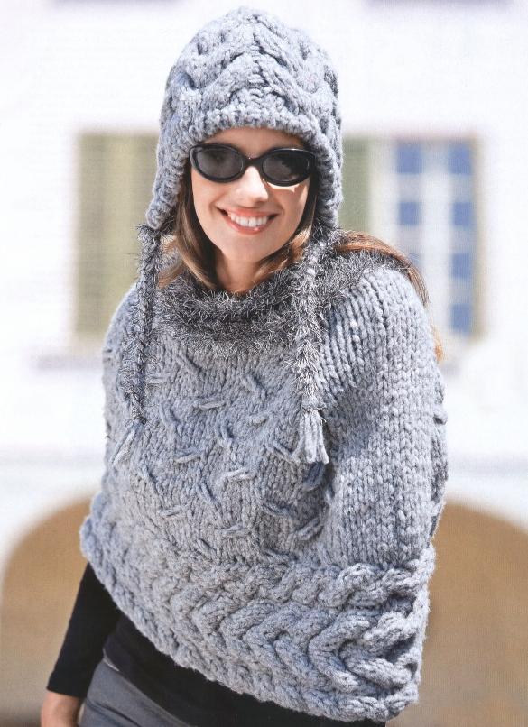 схемы вязанного женского пальто с капюшоном.