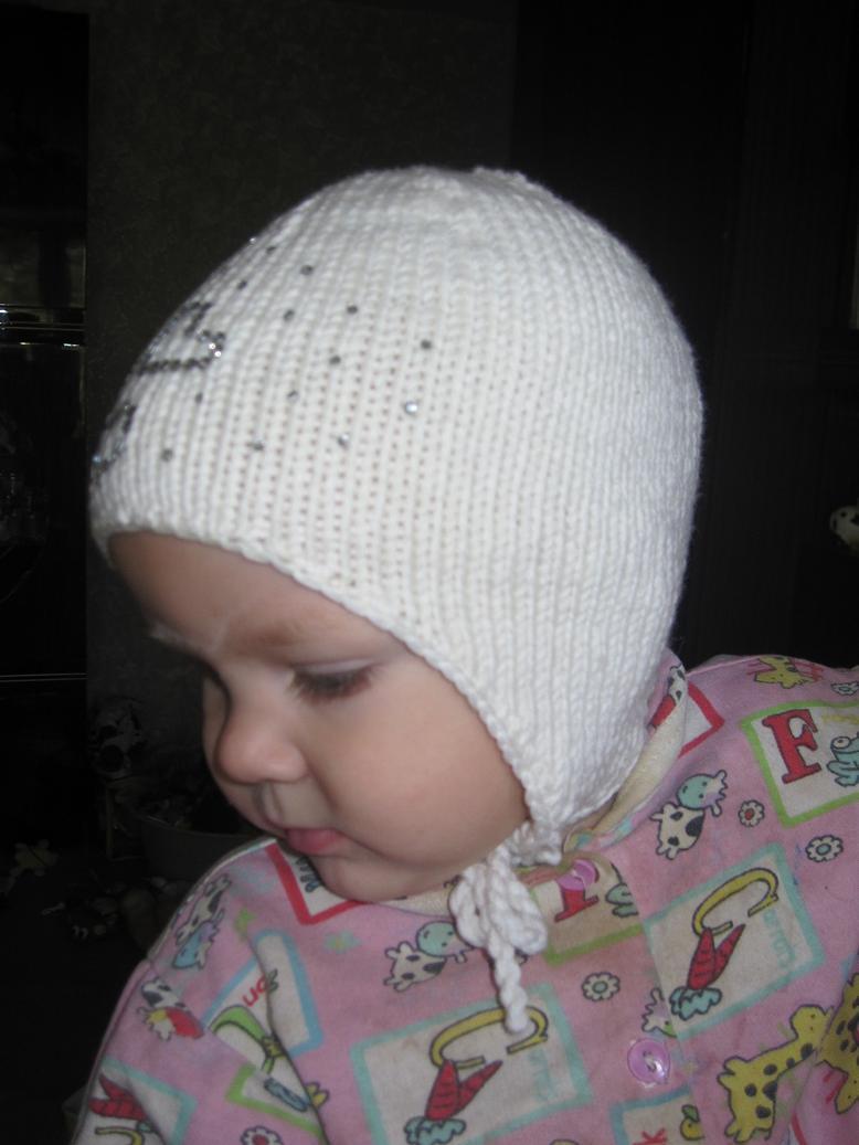Вязание шапочки с ушками для новорожденного мальчика 74