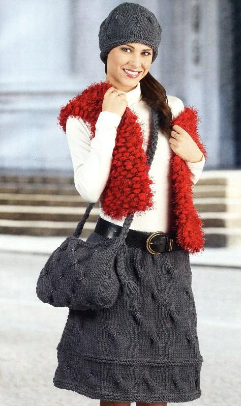 Вязание спицами -сумка,юбка и шапка.