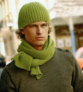Мужская шапка и шарф Вязание спицами.  Шарф с геометрическим рисунком.