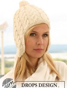 Вязаные зимние шапки для девочек спицами.
