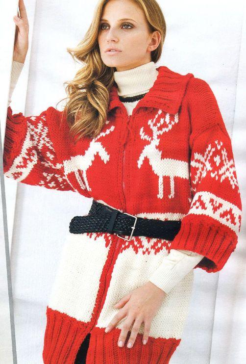 Вязание для женщин.  Пальто красного и натурального цветов.