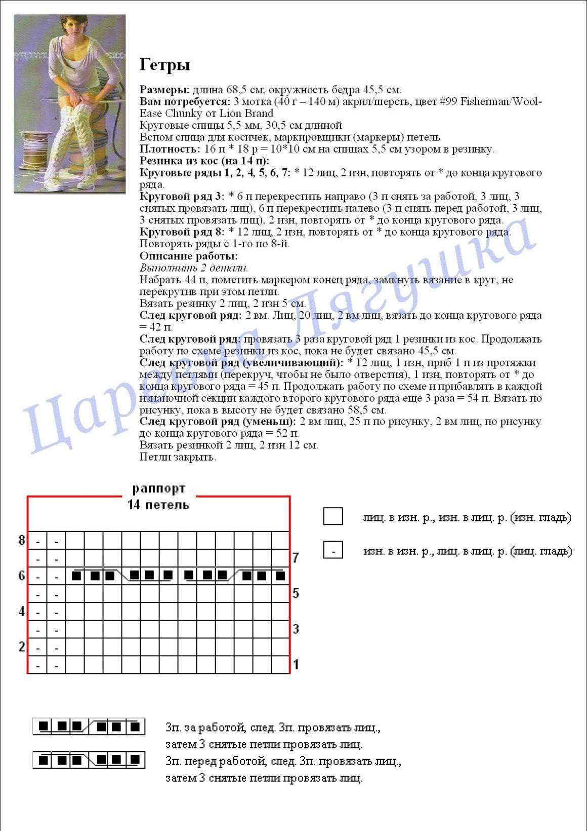 Вязанные гетры с описанием и схемами