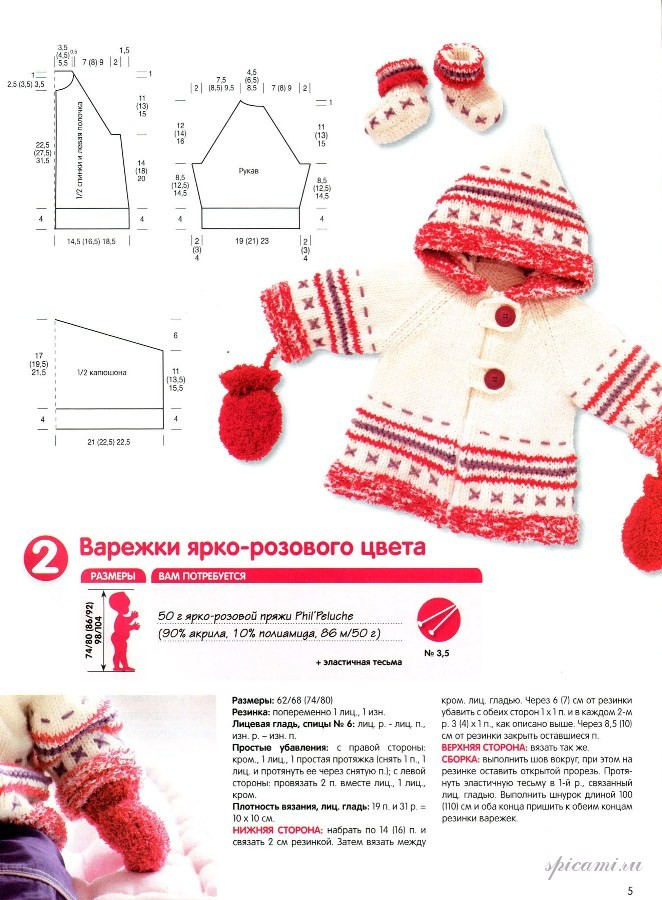 Вязание для малыша... из пушистой пряжи ярко-красного цвета.  Комплект на возраст 0-1 год.  А чтобы ручки не мерзли...