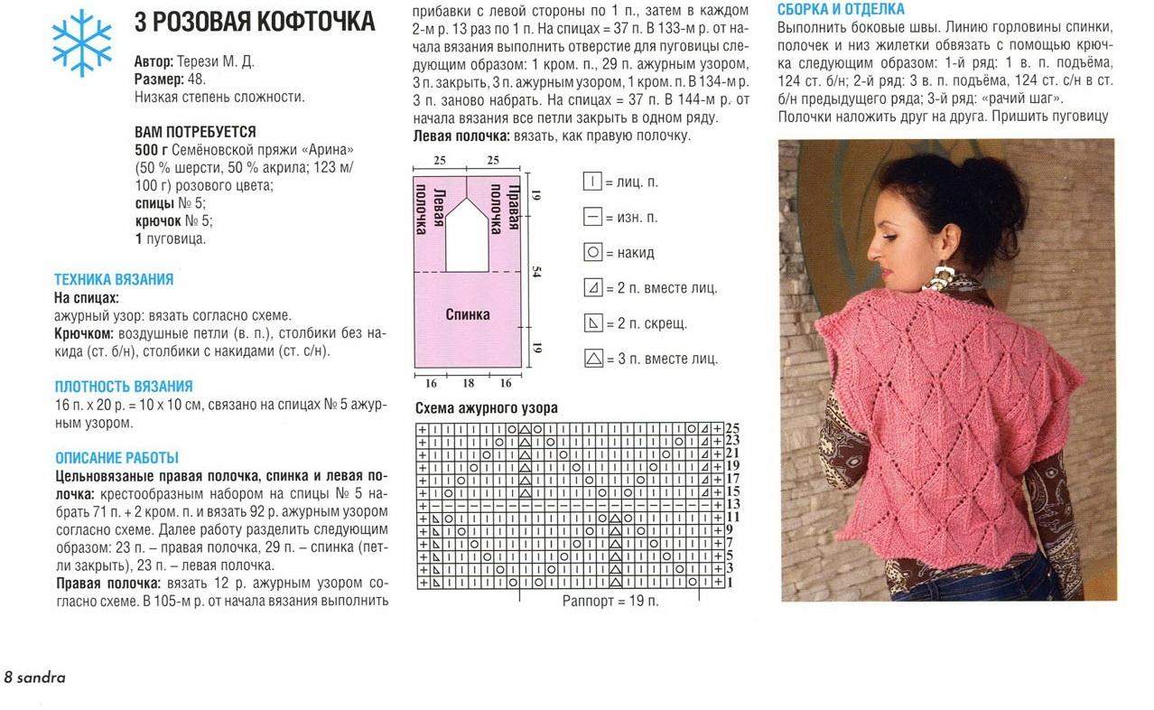Узоры для вязания жилетов и кофт
