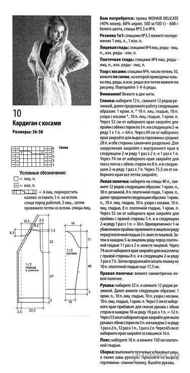 Кардиган косами для вязания спицами схемы и описание