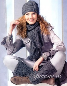 вязаный шарф, шапка и гетры