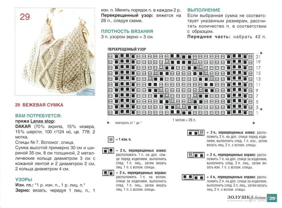 Вязание спицами модели сумки