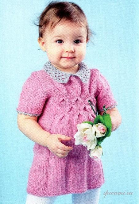 Вязаное платье для девочки связано