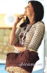 жакет, юбка и сумка крючком