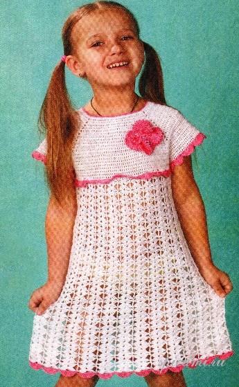 вязание спицами детей платья описание