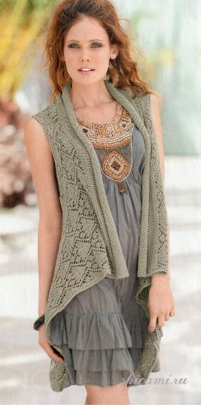 Рисунок вязания жилетки спицами.  Купить кожаную юбку в украине.