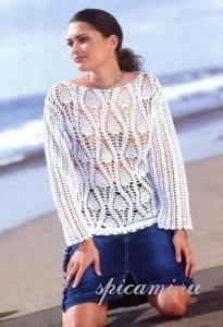 белый пуловер крючком