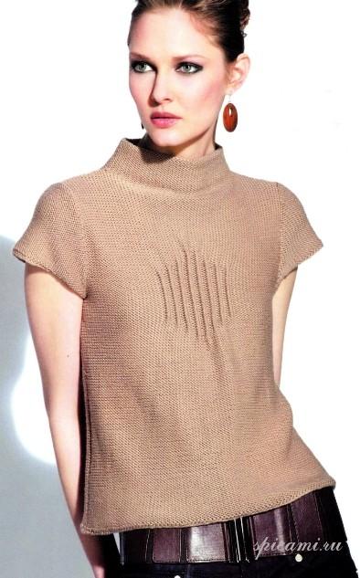 Вязанный пуловер с короткими рукавами