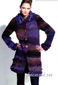 вязаное пальто спицами