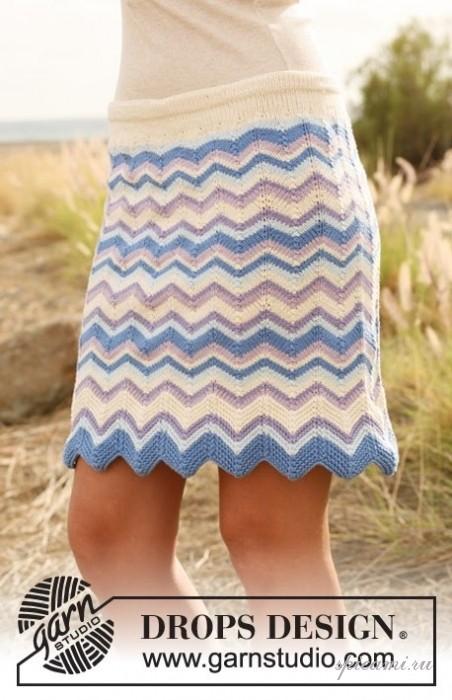 Вязаная юбка крючком зигзаг