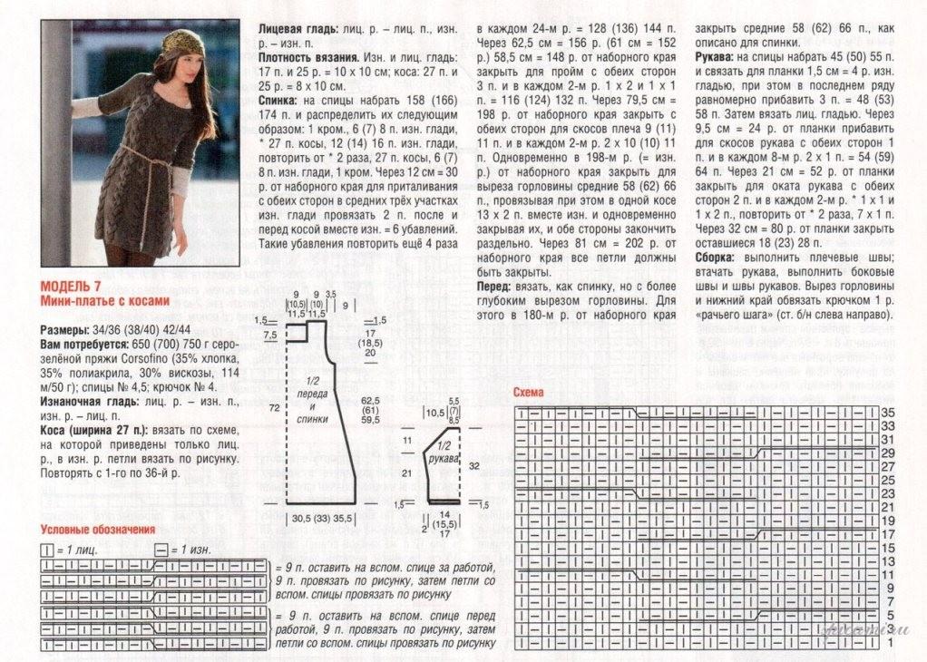 Вязание спицами платьев и туник схемы и описание 526
