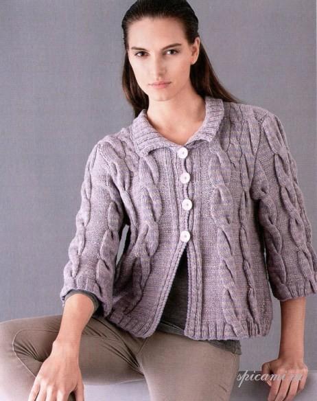 Романтичное очарование этому жакету придает нежный цвет и объемный узор.  Вязание для женщин спицами.