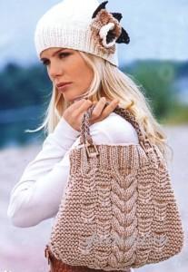 вязаная шапка и сумка
