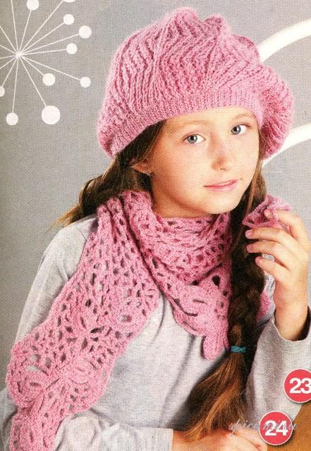 Шапка и шарф для девочки крючком фото