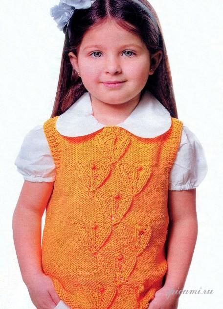 вязание жилета на спицах для детей.
