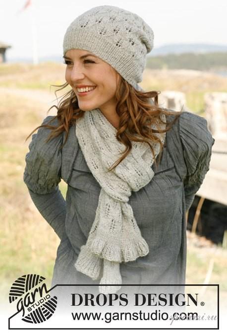 """Комплект из шарфика и шапочки и перчаток с ажурными листиками-листочками.  Описание-перевод из журнала  """"Мастерица """" ."""