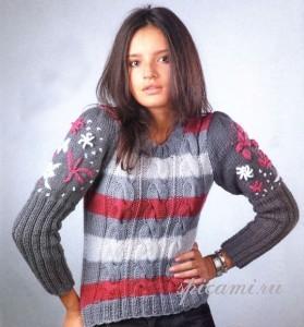 вязаный свитер с косами