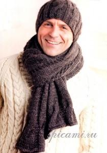 вязаная шапка и шарф для мужчины