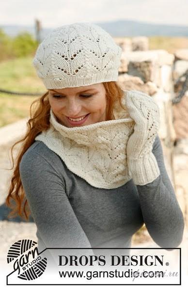 вязаная шапка с ушками и шаль