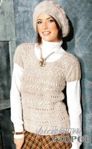 вязаный пуловер и шапочка