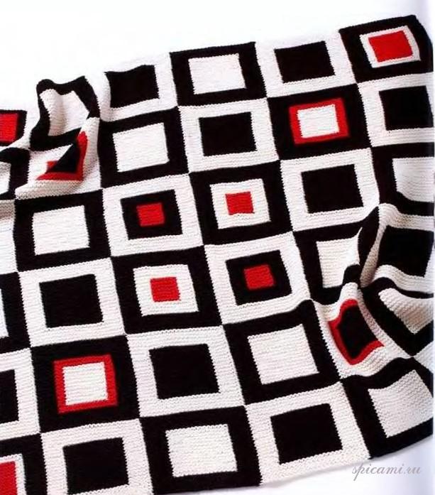 Вязание покрывала из квадратов спицами