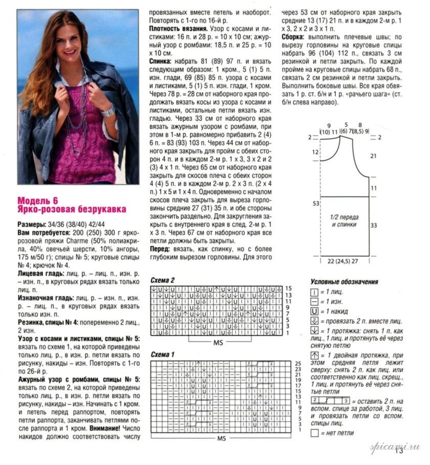 Узоры вязания безрукавки спицами с описанием и схемами