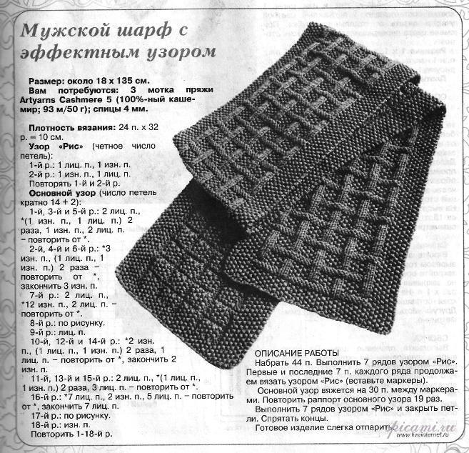 Вязание и схема мужского шарфа 919