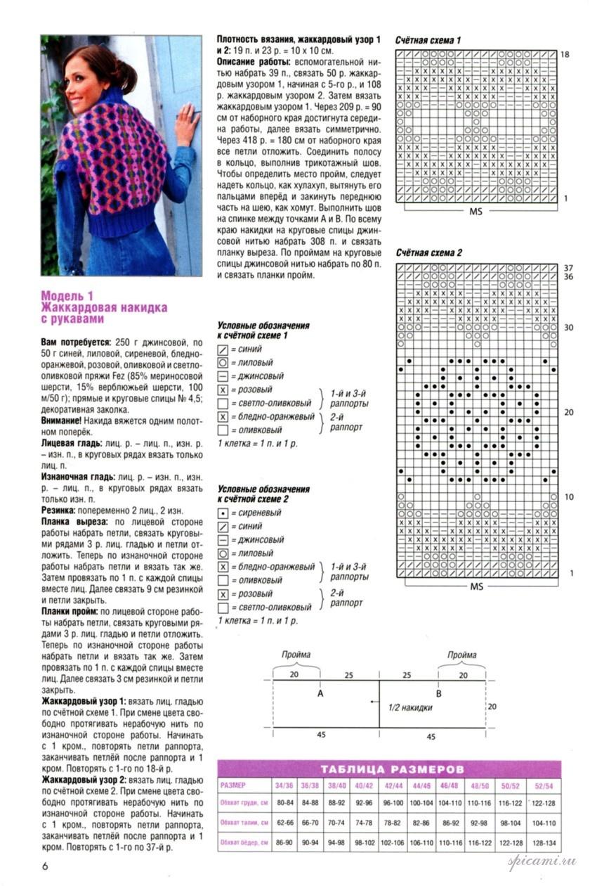 Кофта-накидка спицами схемы и описание