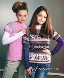 вязаный пуловер для подростка