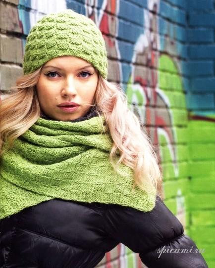Шапка и шарф спицами 4 фотография