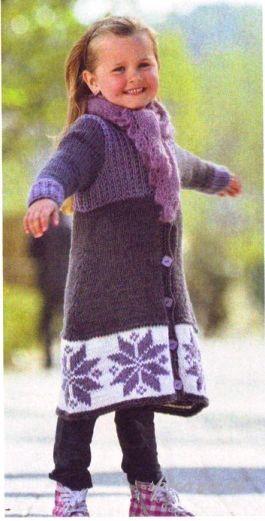 Описание: вязаное пальто спицами на девочку 7 лет.