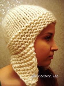 шапка с ушками спицами
