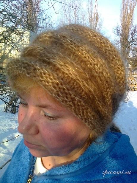 связать повязку на голову с козырьком для детей.