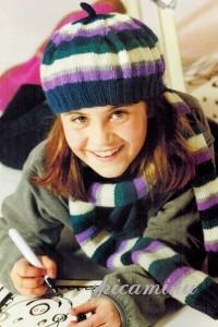 вязаный берет и шарф для девочки