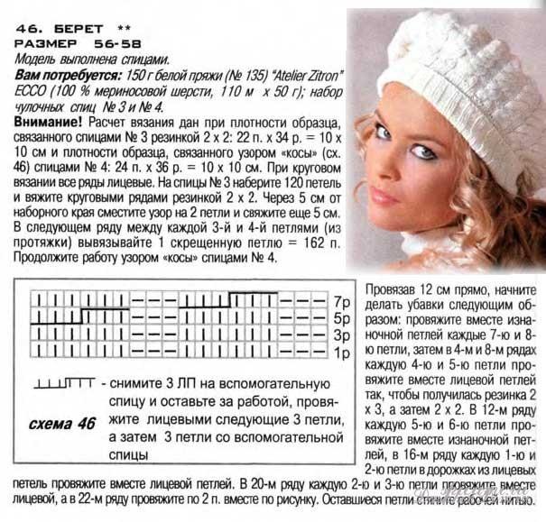 Вязание шапки женские схемы и модели на