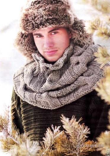 Вязаный шарф-воротник.  Несколько дней осталось до мужского праздника (23 февраля), а вы еще не знаете что подарить...
