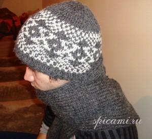 шапочка и шарф для мужчины