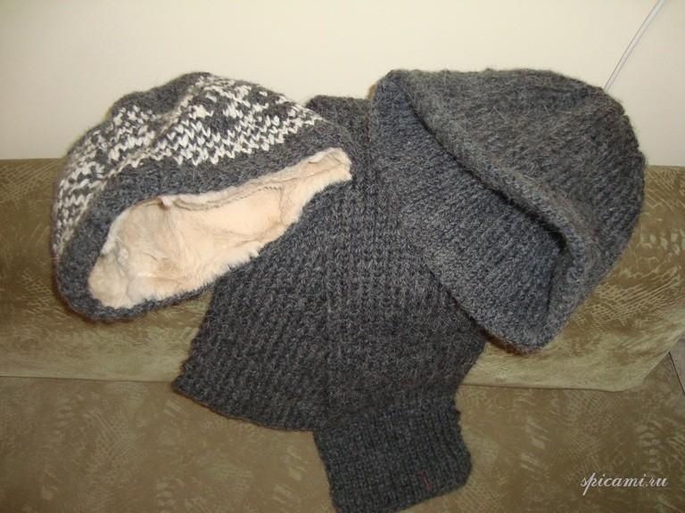 Модные обьемные вязаные шапки и свитера