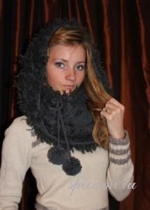 вязаный шарф-капор