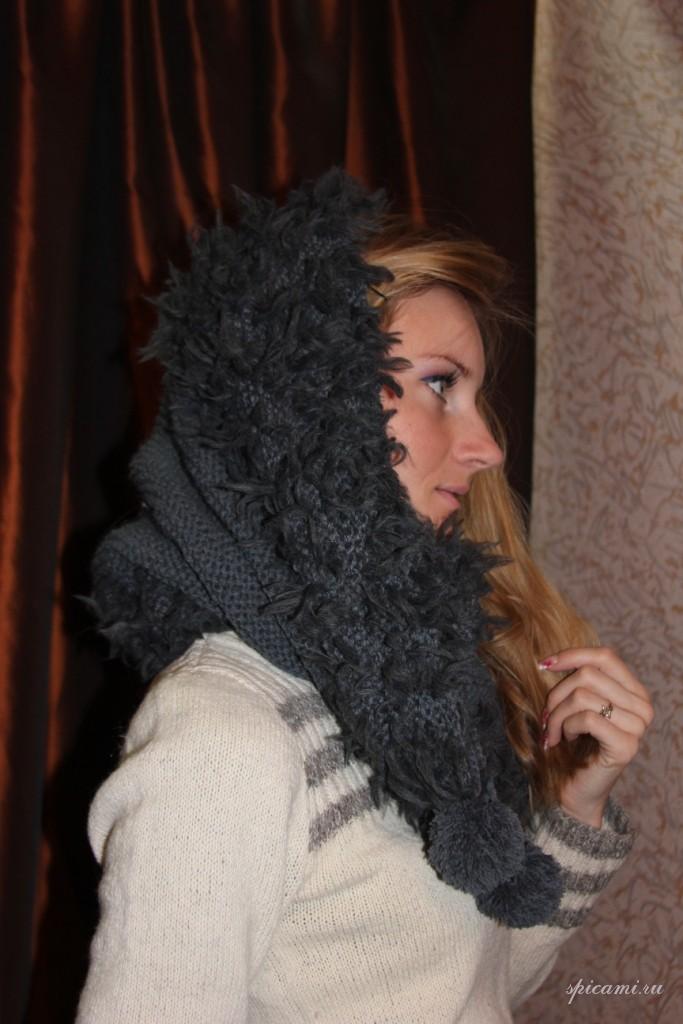Схема вязания капюшона капора спицами.  Похожие изображения можете посмотреть в каталогах Меланжевые свитеры...