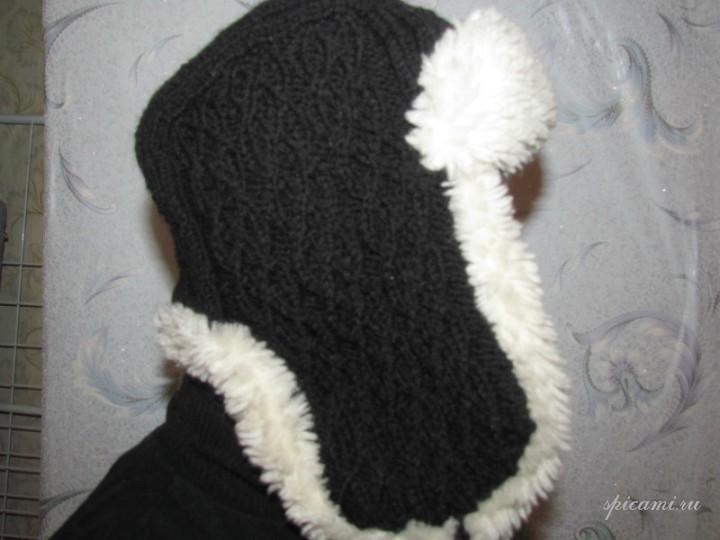 Шапка-ушанка Вязание спицами.
