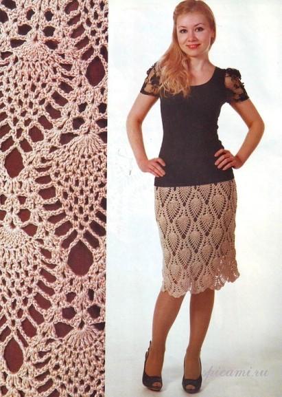 Вязанные крючком юбки с топами