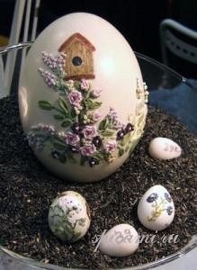 вышивка лентами на яйцах