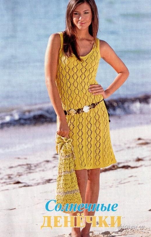 Ажурное платье, связанное спицами и сумка-мешок станут любимыми в вашем...